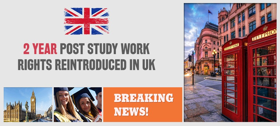 Best Time to Apply in UK: 2 Year Post Study Work Rights Re-introduced !!